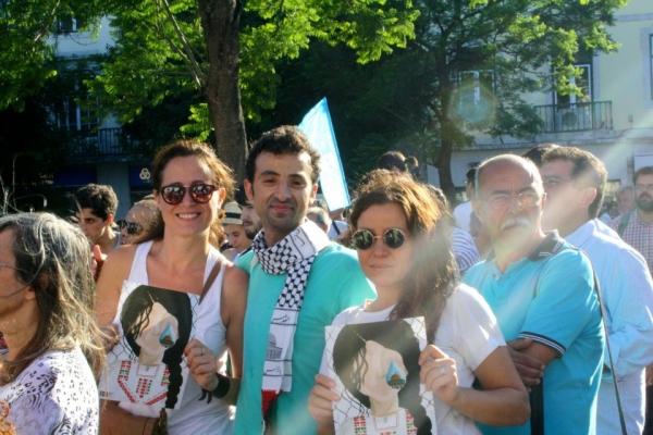 Lisbona - Obai durante una manifestazione di solidarietà alla Palestina